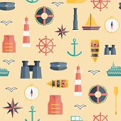 stock photo of life-boat  - Seamless background on boating theme for your design - JPG