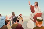 foto of jesus  - A vector illustration of Jesus spreading his teaching to people - JPG