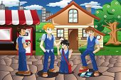 stock photo of immoral  - A vector illustration of kids bullying their friend - JPG