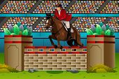 foto of competition  - A vector illustration of an equestrian in the competition for sport competition series - JPG