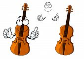 foto of musical instrument string  - Cartoon brown violin instrument character with happy smiling face and little hands - JPG