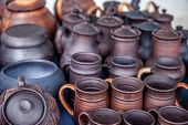 pic of pottery  - Pottery for sale at outdoor market. Travel