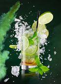 image of freezing  - fresh mojito drink with liquid splash - JPG