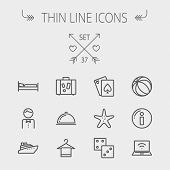 ������, ������: Travel thin line icon set for web and mobile Set includes luggage food cover towel on a hanger