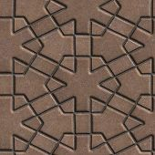 picture of paving  - Brown Paving Slabs Built of Crossed Pieces a Various Shapes - JPG