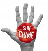 picture of deprivation  - Stop Crime Sign in Red Polygon on Pale Bare Hand - JPG