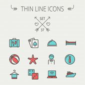 stock photo of flat-bed  - Travel thin line icon set for web and mobile - JPG