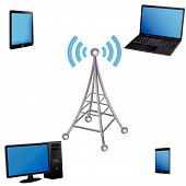 stock photo of antenna  - 3D communication antenna and electronic devices on a white background - JPG