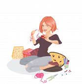 picture of thread-making  - Cute creative woman is making various products sitting in her home - JPG