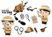 foto of sherlock  - a detective vector with complete tools and pet - JPG