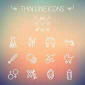 stock photo of sperm cell  - Medicine thin line icon set for web and mobile - JPG