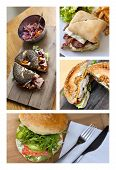 picture of bagel  - Appetizing hamburgers and bagels on a collage - JPG