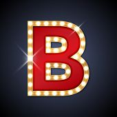 stock photo of letter b  - Vector illustration of realistic retro signboard letter B - JPG