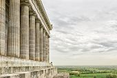 image of bavaria  - Image of the Walhalla with landscape in Bavaria Germany with green meadow and dark clouds - JPG