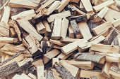 picture of firewood  - Large pile of firewood logs vintage processing - JPG