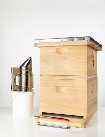 picture of deep  - Simple starter Langstroth beehive with bottom board and deep super brood chamber and entrance inner cover second deep super and telescoping cover with syrup feeder smoker beetle trap and hive tool - JPG