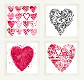 Постер, плакат: Valentines day set for holiday greeting cards Valentine heart set Valentines heart background Val