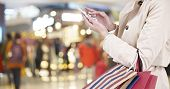 Woman Using Cellphone While Shopping poster