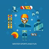 Постер, плакат: Winter Sports Kit And Boarder Man