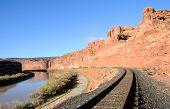 stock photo of potash  - Multiple Transportation Options in Remote Desert Canyon - JPG