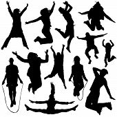 picture of exaltation  - set of jumping people silhouette illustration design vector - JPG