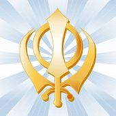 foto of khanda  - Golden Sikh Khanda symbol of the Sikh faith - JPG