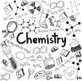 Постер, плакат: Chemistry Science Theory And Bonding Formula Equation Doodle Handwriting And Tool Model Icon In Whi