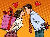 Valentine day lovers man and woman with gifts poster