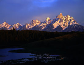 picture of mountain-range  - a pond and the grand teton mountain range in grand teton national park wyoming - JPG