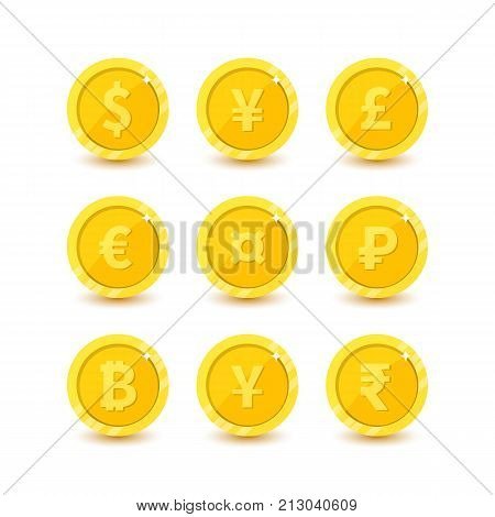 Currency Flat Vactor Symbol Set Money Icons With Images Of