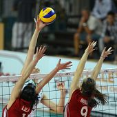 SZOMBATHELY, HUNGARY - JUNE 4: Zsanett Miklai (in red 9) in action at a CEV European League woman's
