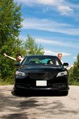 stock photo of road trip  - A young couple is thrilled with the idea of a road trip - JPG