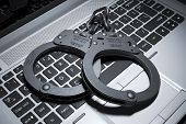 Handcuffs On Laptop Keyboard. Copyright Concept 3D poster