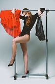 Seduction And Fashion Concept. Sexy Woman With Long Hair poster