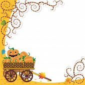 picture of wagon wheel  - Halloween or autumn background with wagon full of pumpkins and funky vines - JPG