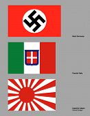 stock photo of mussolini  - The 3 flags of the Axis powers drawn in CMYK and placed on individual layers - JPG