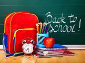 stock photo of knapsack  - Back to school supplies and board - JPG