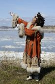 picture of chukotka  - dancing chukchi woman in the folk dress - JPG