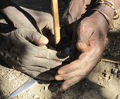 stock photo of friction  - Hands of the bushmen peoples - JPG