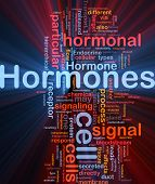 stock photo of hormone  - Background concept wordcloud illustration of Hormones hormonal signal glowing light - JPG