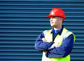 stock photo of hard_hat  - construction worker with arms folded - JPG