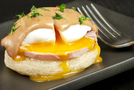 picture of red wine  - Close-up of eggs benedict   ** Note: Shallow depth of field - JPG