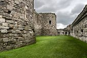 pic of anglesey  - Beaumaris Castle walls on the Isle of Anglesey in North Wales - JPG