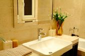 picture of lavabo  - modern bathroom with sinks and mirror  - JPG