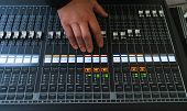 Sound Equipment, Large Mixing Console For Sound Producer. Performance And Sound Design Events And Pa poster