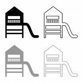 Playground Slide Childrens Slide Kids Playground Childrens Town With Slide Icon Outline Set Black Gr poster