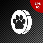 White Paw Print Icon Isolated On Transparent Dark Background. Dog Or Cat Paw Print. Animal Track. Ve poster