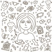 Depression Girl Doodle. Heartbreak And Sad Doodle Girl. Depression Signs And Symptoms. Concept Of St poster