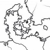 World Map Of Denmark: Denmark, Jutland, Zealand, Scandinavia, North Europe, North Sea. Geographic Ch poster
