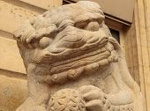 Lion marble face, Chinese Lion, stone carving sculpture, the symbol of Power, by Chinese. Stone Lion poster